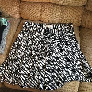 Loft Black & White a-line skirt